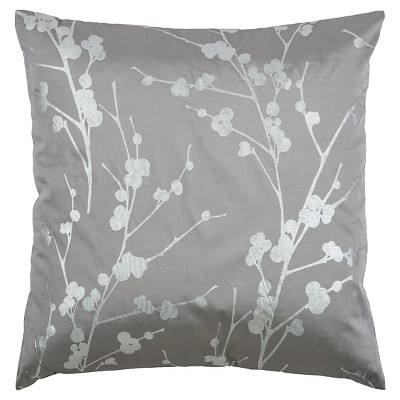 Gray/Silver Polyester Satin With Foil Print Throw Pillow - Rizzy Home
