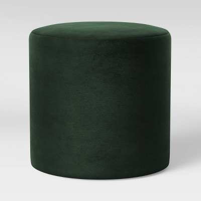 bodrum round upholstered ottoman velvet forest green project 62