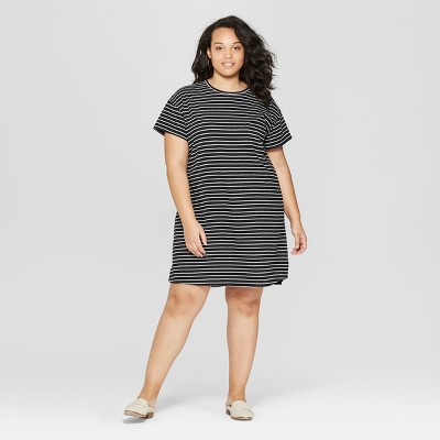 Women's Plus Size Striped Short Sleeve Round Neck T-Shirt Dress - Universal Thread™ Black
