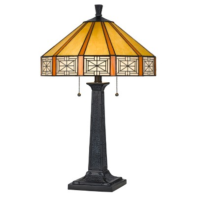 Tiffany Table Lamp 60w X 2 Black (Includes Energy Efficient Light Bulb) - Cal Lighting