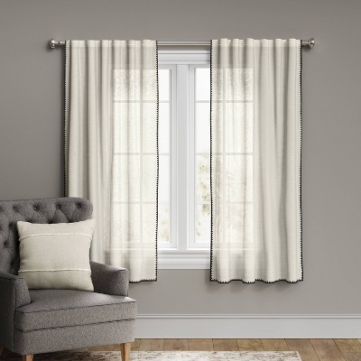 108 x54 stitched edge light filtering curtain panel off white threshold