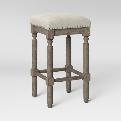 erving wood and upholstered backless counter height barstool taupe threshold