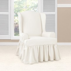 How To Make Slipcover For Wingback Chair Gold Sequin Covers Sale Essential Twill Ruffle Wing White Sure Fit Target