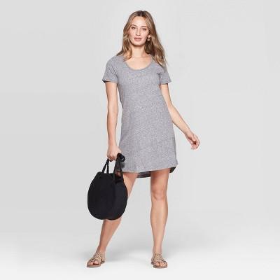 Women's Short Sleeve Scoop Neck Dress - Universal Thread™ Gray
