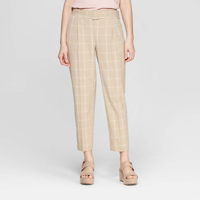 Women's Plaid Slim Fit Belted Trouser - A New Day™ Tan