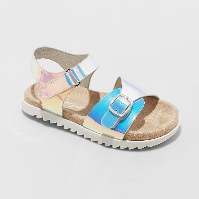 Toddler Girls' Raynel Slide Sandals - Cat & Jack™ Silver