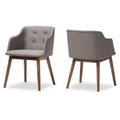 Tufted Accent Chairs Office Chair Harrison Mid Century Modern Gray Fabric Walnut Brown Wood Button Set Of 2 Baxton Studio