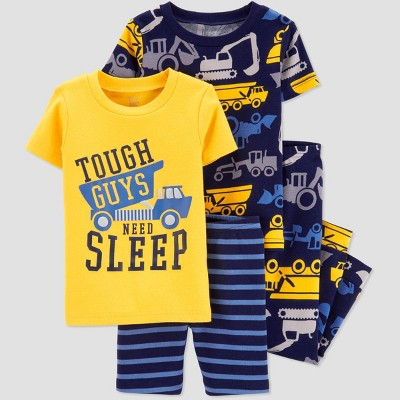 Baby Boys' 4pc Yellow Construction Pajama Set - Just One You® made by carter's Yellow/Navy
