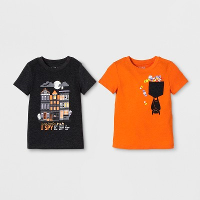 Toddler Boys' 2pk Graphic Short Sleeve T-Shirt - Cat & Jack™ Orange/Black