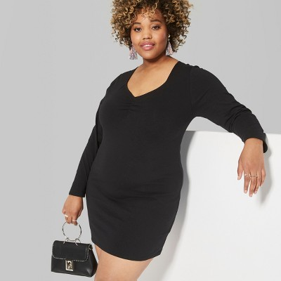Women's Plus Size Long Sleeve Ruched Front Knit Dress - Wild Fable™ Black