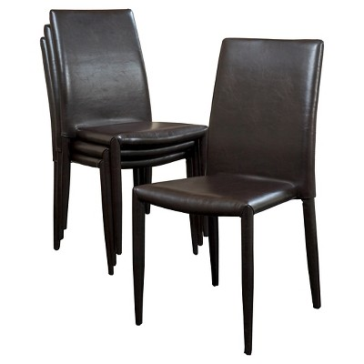 leather dining chairs ergonomic chair with armrest comstock bonded stackable brown set of 4 christopher knight home