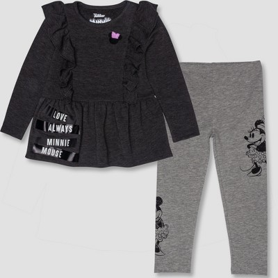 Toddler Girls' 2pc Disney Minnie Mouse Tunic and Leggings Set - Gray/Black