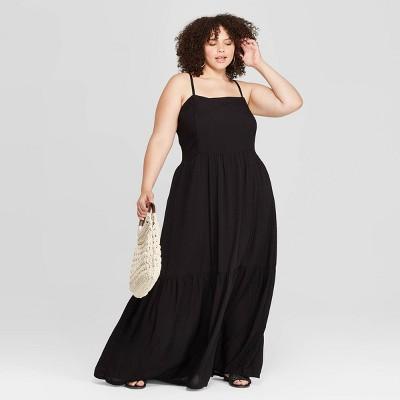 Women's Plus Size Sleeveless Square Neck Tiered Maxi Dress - Universal Thread™ Black