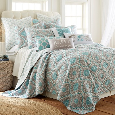 gramercy teal ogee quilt set full queen quilt and two standard shams grey teal levtex home