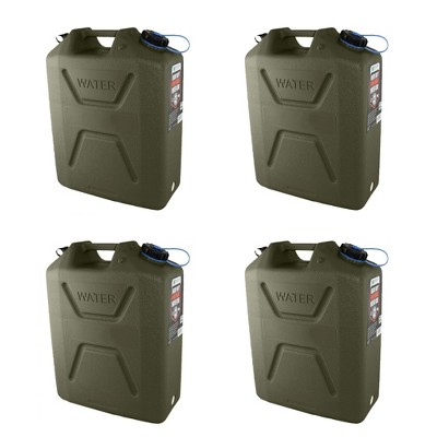 Wavian Usa 5 Gal Plastic Water Jug Can Container W/ Pour Spout, Green (4 Pack)