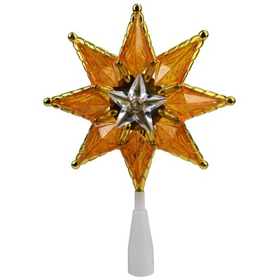 """Northlight 8"""" Gold Mosaic 8-Point Star Christmas Tree Topper - Clear Lights"""