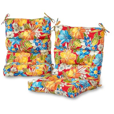 set of 2 aloha red floral outdoor high back chair cushions kensington garden