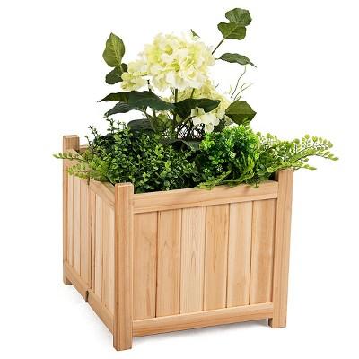 costway square wood flower planter box raised vegetable patio lawn garden folding
