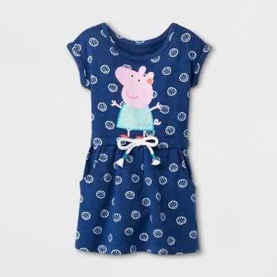 Toddler Girls' Peppa Pig Short Sleeve Drawstring Dress - Blue
