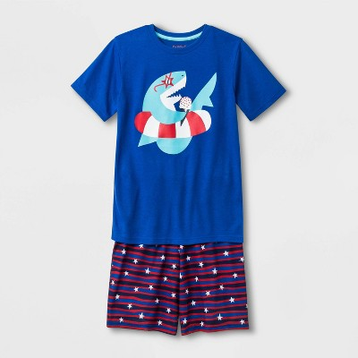 Boys' Shark Print Pajama Set - Cat & Jack™ Blue Streak