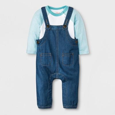 Baby Boys' 2pc Long Sleeve Bodysuit and Denim Overalls Set - Cat & Jack™ Blue/White