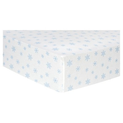 Trend Lab Deluxe Flannel Fitted Crib Sheet - Blue Snowflakes