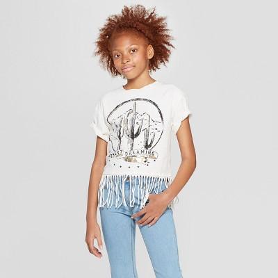 Girls' Short Sleeve Raw Edge Cactus T-Shirt - art class™ Cream