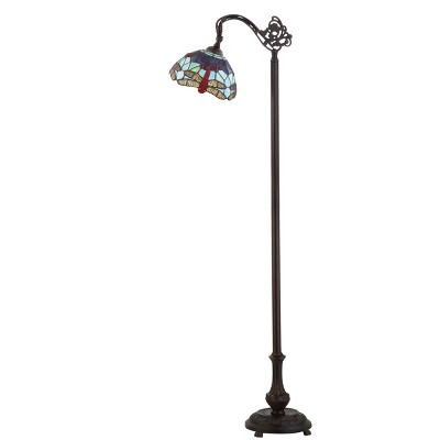 """60"""" Dragonfly Tiffany Style 60"""" Arched LED Floor Lamp Bronze (Includes Energy Efficient Light Bulb) - JONATHAN Y"""