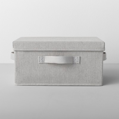 standard fabric shoe bin with lid light gray made by design