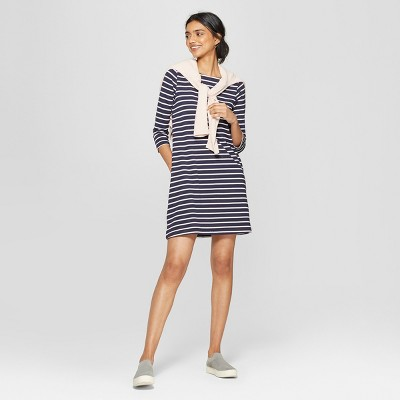 Women's Striped Casual Fit 3/4 Sleeve Crew Neck Knit Dress - A New Day™