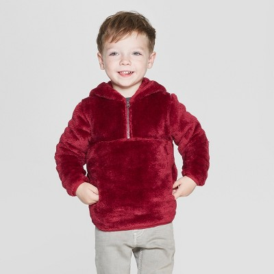 Toddler Boys' Teddy Bear Fleece Hoodie - Cat & Jack™ Red
