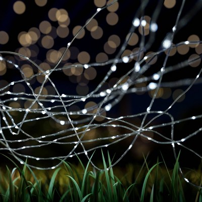 100ct Starry Solar Fairy LED Outdoor String Lights Cool White - Pure Garden