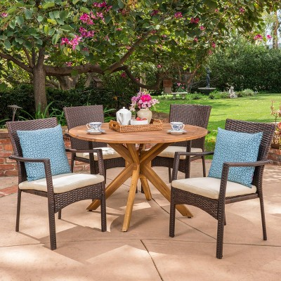 stamford 5pc acacia wood wicker patio dining set brown christopher knight home