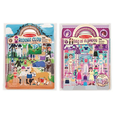 Melissa & Doug® Deluxe Puffy Sticker Activity Book Set: Day of Glamour and Riding Club - 392 Reusable Stickers