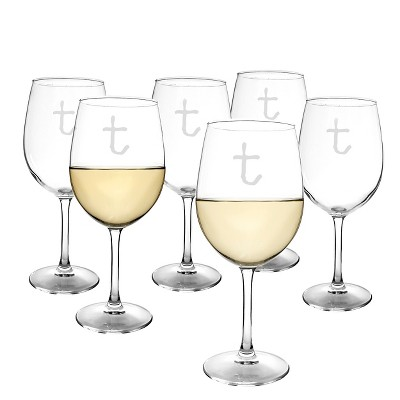 Cathy's Concepts® Personalized 12 oz. White Wine Glasses (Set of 6)-T