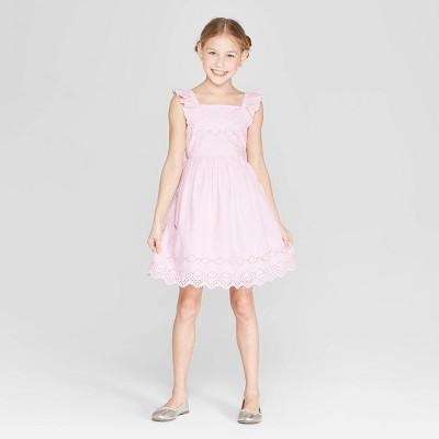 Girls' Eyelet Scallop Dress - Cat & Jack™