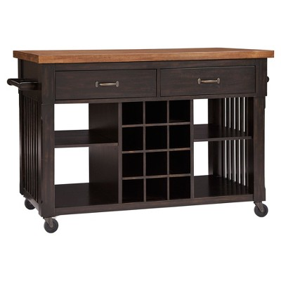 South Hill Wood Top Kitchen Cart With Wine Rack - Inspire Q®