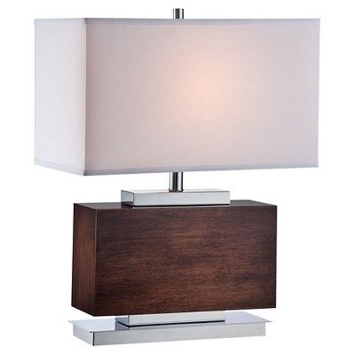 Lite Source Firmino 1 Light Table Lamp - Walnut, Chrome