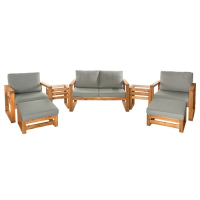 7pc hudson open side outdoor patio chat set saracina home