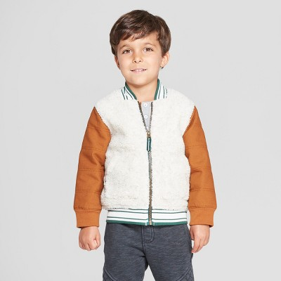 Genuine Kids® from OshKosh Toddler Boys' Sherpa Bomber Jacket with Canvas Sleeves - Brown