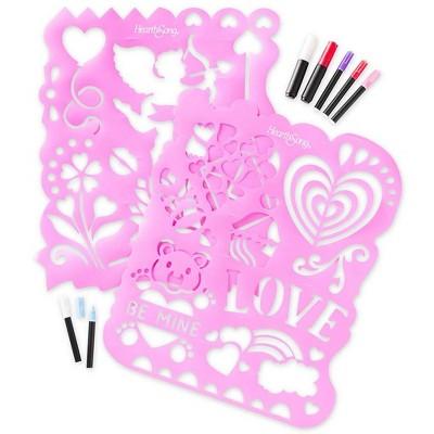 "Chalkscapes Set Of 2 Valentine Window Stencils & 10 Chalk Markers, 20""W X 24""L - Hearthsong"