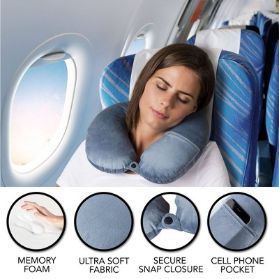 brookstone charcoal infused memory foam travel neck pillow blue