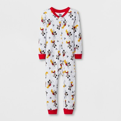 Toddler Boys' Mickey Mouse Blanket Sleeper - Gray/Red