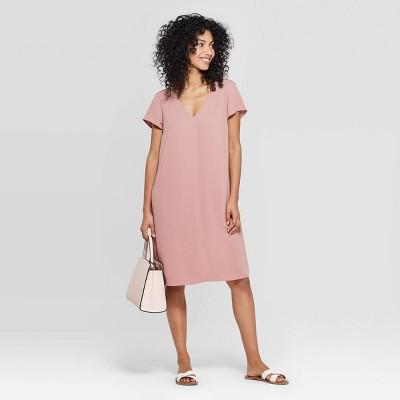 Women's Short Sleeve V-Neck Crepe Dress - A New Day™ Dark Pink