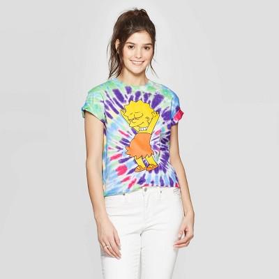 Women's Lisa Simpson Short Sleeve Graphic T-Shirt (Juniors') - Tye Dye