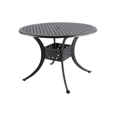 42 cast aluminum round patio dining table black wood blue nuu garden