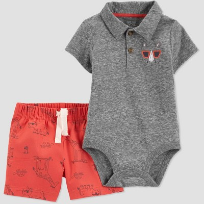 Baby Boys' 2pc Rhino Shorts Set - Just One You® made by carter's Gray/Red
