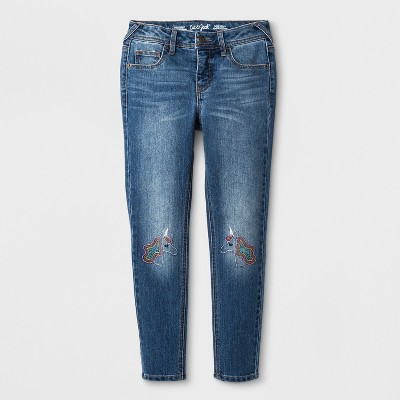 Girls' Skinny Unicorn Embroidered Jeans - Cat & Jack™ Medium Wash