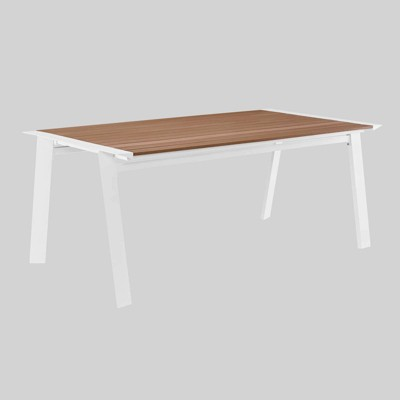 roanoke 73 rectangle outdoor patio aluminum dining table white natural modway