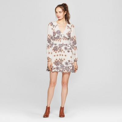 Women's Floral Print Smocked Waist Dress - 3Hearts (Juniors') Ivory